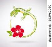green lizard and red hibiscus... | Shutterstock .eps vector #663962080