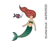 Hand Drawn Cute Little Mermaid...