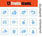fruit icon set.  blue frame...