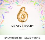 6 anniversary celebration with... | Shutterstock . vector #663974548