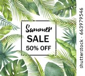 watercolor sale banner tropical ... | Shutterstock . vector #663979546