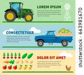 set of flat farm template with... | Shutterstock .eps vector #663981670
