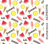 seamless pattern with ice cream ...   Shutterstock .eps vector #663983998