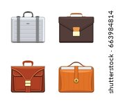 briefcase and luxury leather... | Shutterstock .eps vector #663984814