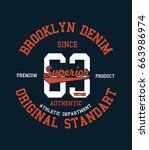brooklyn college style print... | Shutterstock .eps vector #663986974