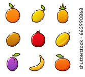 fruit vegetables  new icons of... | Shutterstock .eps vector #663990868