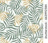 tropical background with palm... | Shutterstock .eps vector #663992584