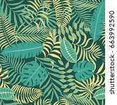 tropical background with palm... | Shutterstock .eps vector #663992590