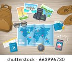 preparing for vacation  travel  ... | Shutterstock . vector #663996730