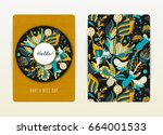 cover design with floral... | Shutterstock .eps vector #664001533