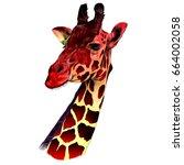 the head of a giraffe sketch... | Shutterstock .eps vector #664002058