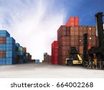 container ship yard in import... | Shutterstock . vector #664002268