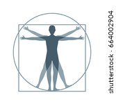 cartoon silhouette vitruvian...   Shutterstock . vector #664002904