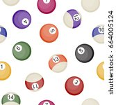 billiards balls seamless... | Shutterstock .eps vector #664005124