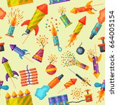 fireworks vector pyrotechnics... | Shutterstock .eps vector #664005154