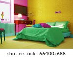 bedroom with colorful colors...   Shutterstock . vector #664005688