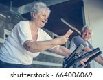 two senior people working out... | Shutterstock . vector #664006069