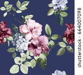 Stock photo vintage flowers and blue background 664007098