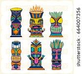 colourful wood polynesian tiki... | Shutterstock .eps vector #664007356
