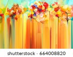 abstract floral oil color... | Shutterstock . vector #664008820