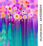 abstract floral oil color... | Shutterstock . vector #664008844