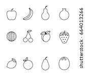 fruit line icons set.apple ... | Shutterstock .eps vector #664013266