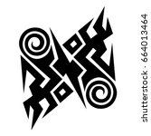 tribal tattoo art designs.... | Shutterstock .eps vector #664013464