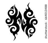 tribal tattoo art designs.... | Shutterstock .eps vector #664013488