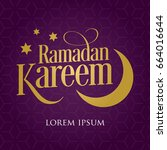 """ramadan kareem"" purple...   Shutterstock .eps vector #664016644"