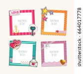 photo frame with heart  love... | Shutterstock .eps vector #664017778