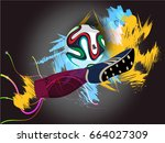 abstract sports background with ... | Shutterstock .eps vector #664027309