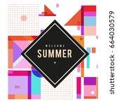 trendy vector summer cards... | Shutterstock .eps vector #664030579
