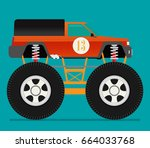 off road car isolated on color... | Shutterstock .eps vector #664033768
