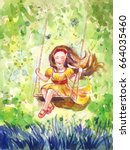girl swinging on a swing.... | Shutterstock . vector #664035460