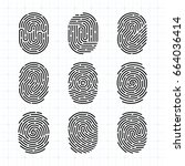vector fingerprint icons set ... | Shutterstock .eps vector #664036414