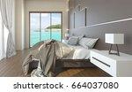 the modern bedroom with sea... | Shutterstock . vector #664037080