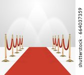 red carpet with red ropes on... | Shutterstock .eps vector #664037359