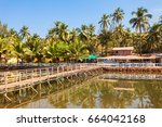 bridge through small river on... | Shutterstock . vector #664042168