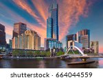 city of melbourne. cityscape... | Shutterstock . vector #664044559