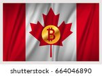 bitcoin on the national waving... | Shutterstock .eps vector #664046890
