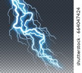 lightning and thunder bolt or... | Shutterstock .eps vector #664047424
