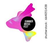 trendy vector summer music... | Shutterstock .eps vector #664051438