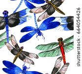 insect dragonfly pattern in a... | Shutterstock . vector #664054426