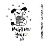 cute dog. new year 2018 symbol | Shutterstock .eps vector #664055230