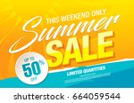 summer sale template banner ... | Shutterstock .eps vector #664059544