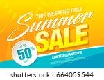 summer sale template banner, vector illustration | Shutterstock vector #664059544