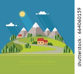 beautiful rural landscape with... | Shutterstock .eps vector #664060159