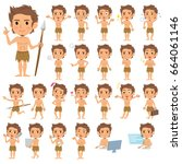 a set of men with who express... | Shutterstock .eps vector #664061146