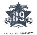 abstract star t shirt print... | Shutterstock .eps vector #664064170