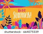 vector illustration in trendy... | Shutterstock .eps vector #664075339